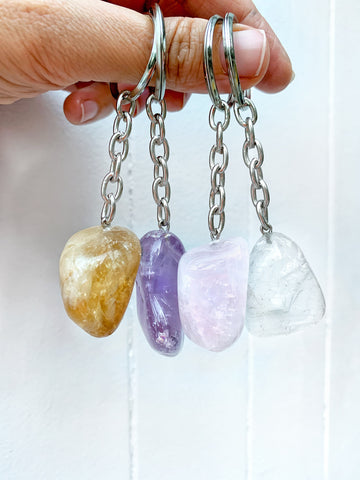 Crystal Key Ring (Clear Quartz Tumbled) NEW