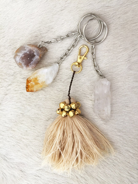 Crystal Key Ring (Citrine Point) NEW