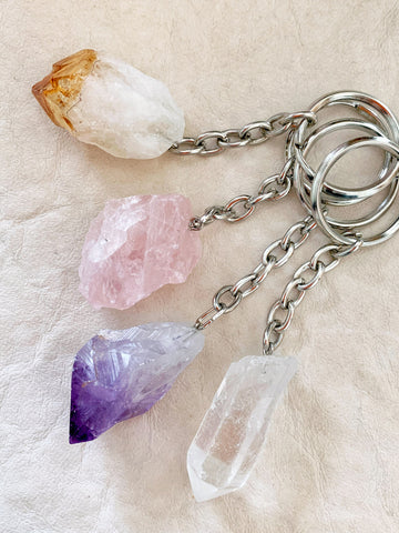 Crystal Key Ring (Rose Quartz Point) NEW