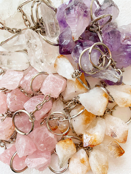 Crystal Key Ring (Rose Quartz Point)