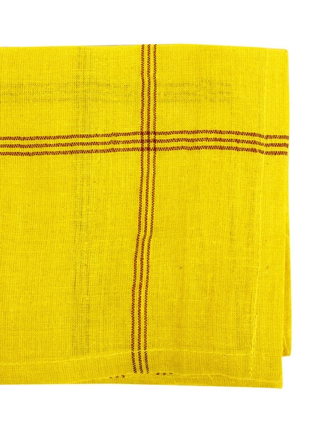 Indian Washed Cotton Dish Cloth/Napkin (Bright Yellow/Dark Red) 100x55cm IN STOCK