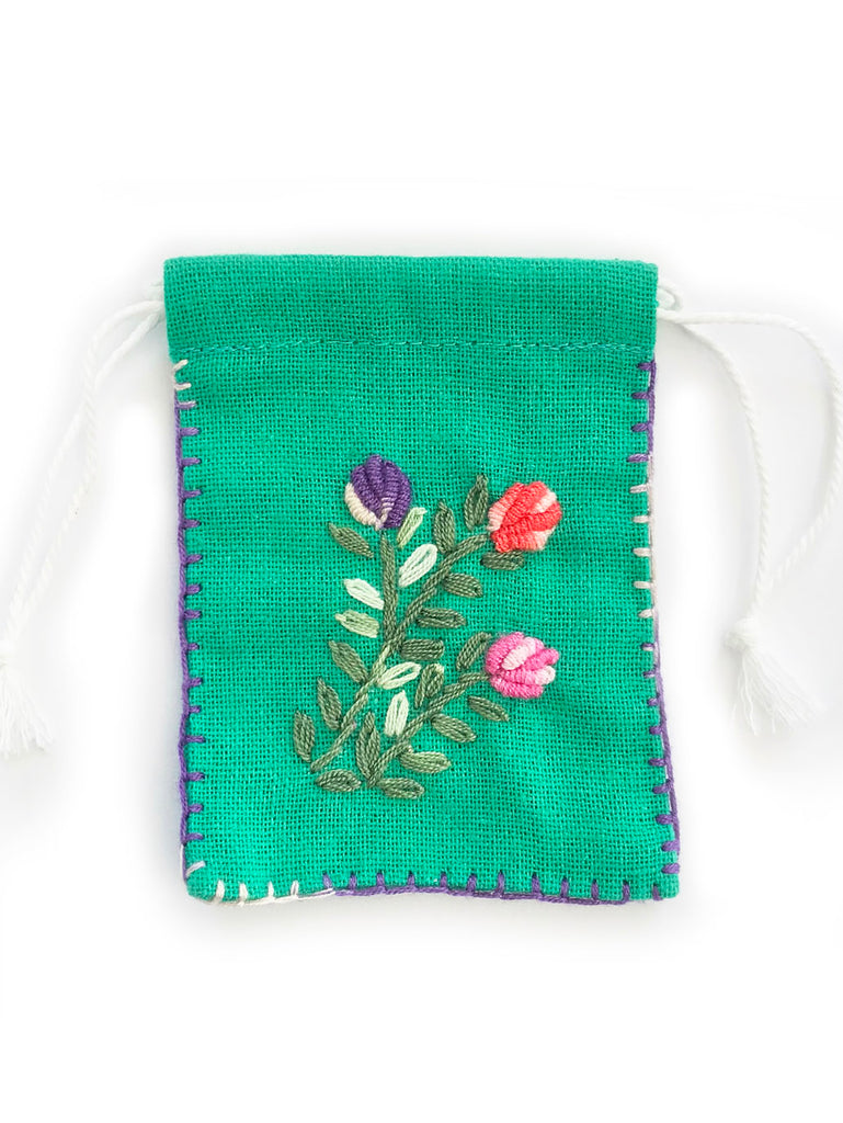 Embroidered Cotton Jewellery Pouch (Green)