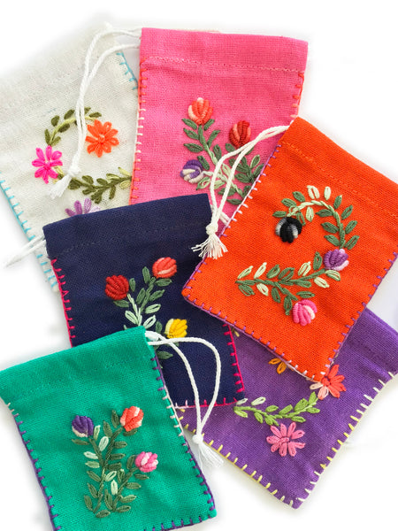 Embroidered Cotton Pouch • (Violet)