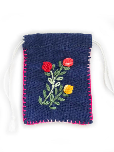 Embroidered Cotton Pouch • (Navy)