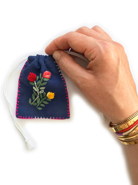 Embroidered Cotton Jewellery Pouch (Navy)