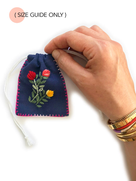 Embroidered Cotton Jewellery Pouch (Pink) NEW