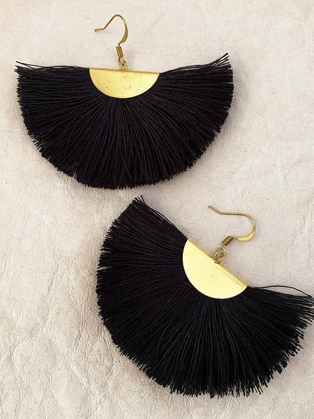 Fanfare Tassel Earrings (Liquorice)