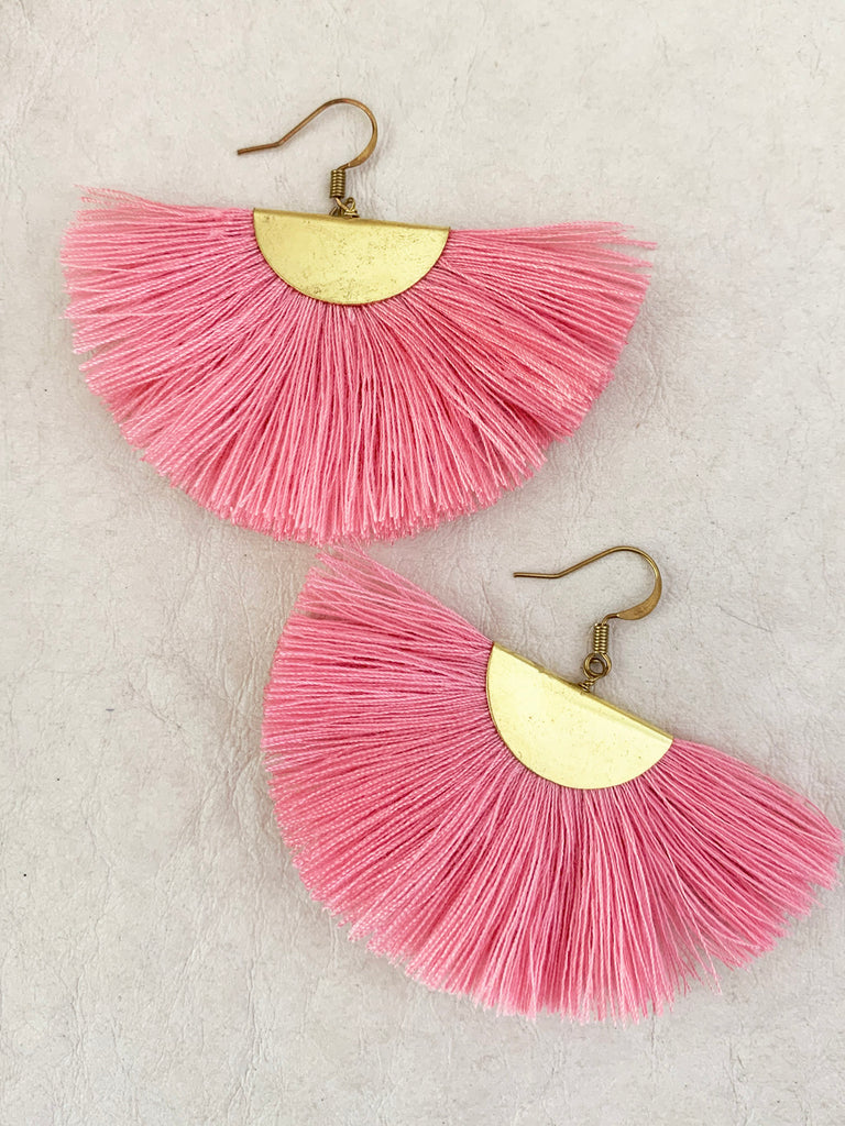 Fanfare Tassel Earrings (Flamingo)