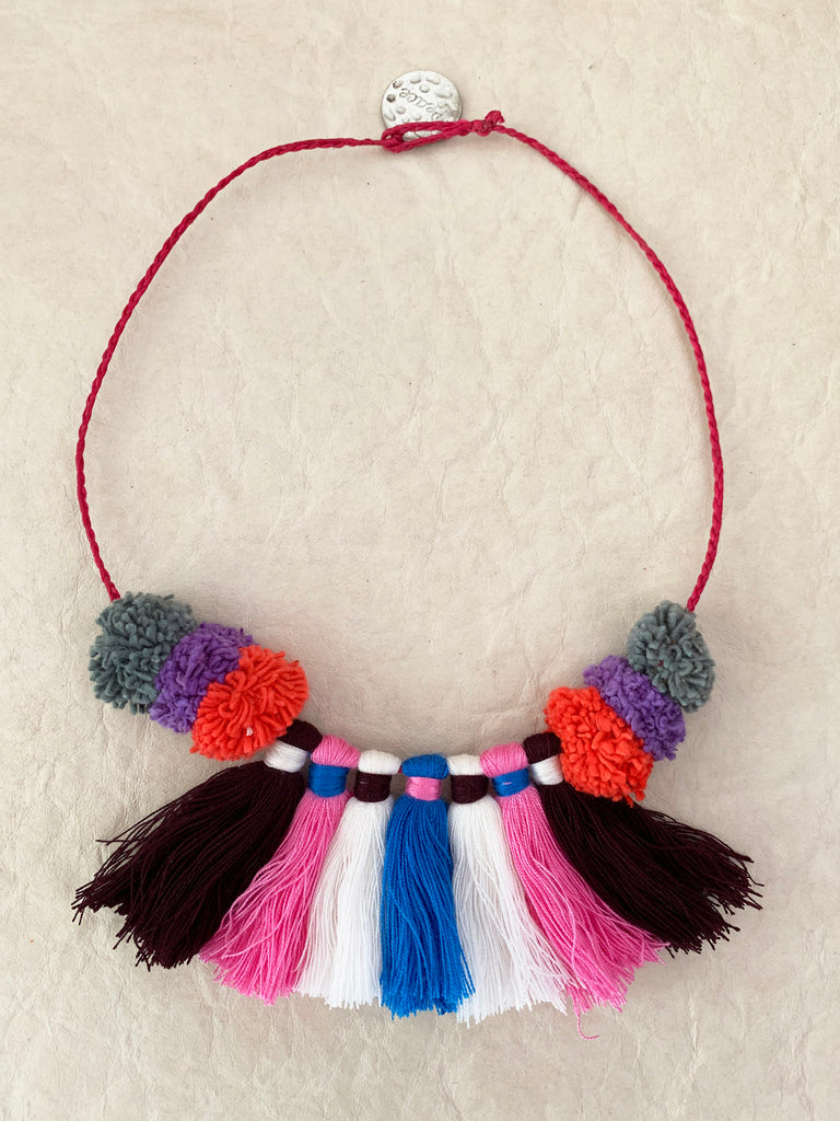 Flamenco Pompom Tassel Necklace (Multi)