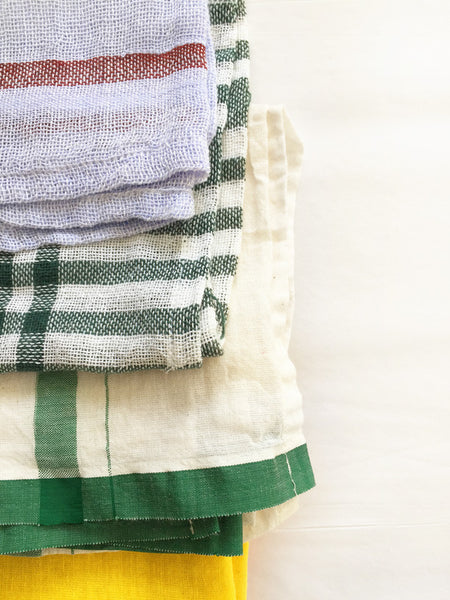 Indian Washed Cotton Dish Cloth/Napkin (Ivory/Green Stripe) 105x60cm IN STOCK