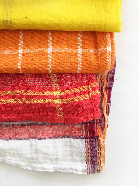 Indian Washed Cotton Dish Cloth/Napkin (Red/BoldYellow Stripe) 80x40cm IN STOCK