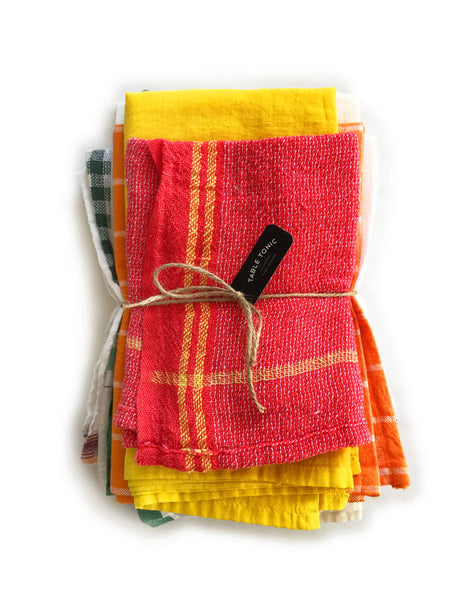 Indian Washed Cotton Dish Cloth/Napkin (Red/BoldYellow Stripe) IN STOCK