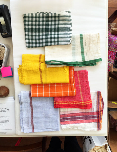 Indian Washed Cotton Dish Cloth/Napkin (White/Dark Green Plaid)