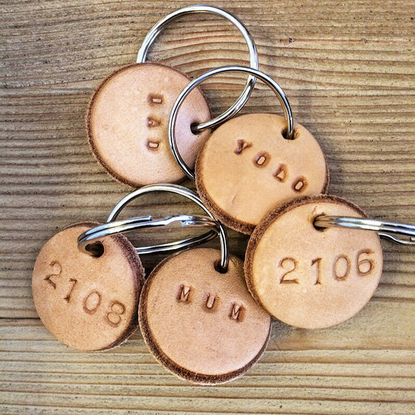 Tan Leather Postcode Keyring (DAD) IN STOCK