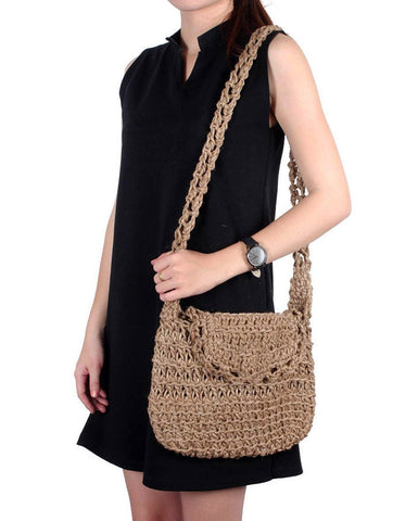 Crocheted Jute Shoulder Bag (Natural)