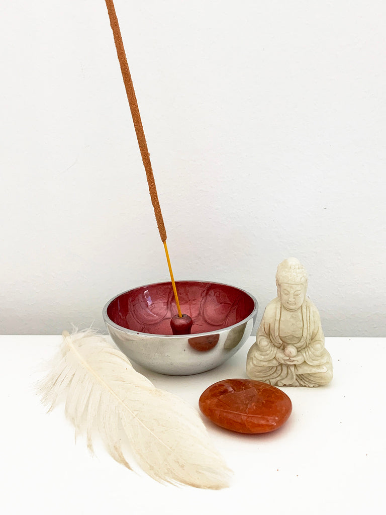 Hand Painted Incense Bowl • COPPER