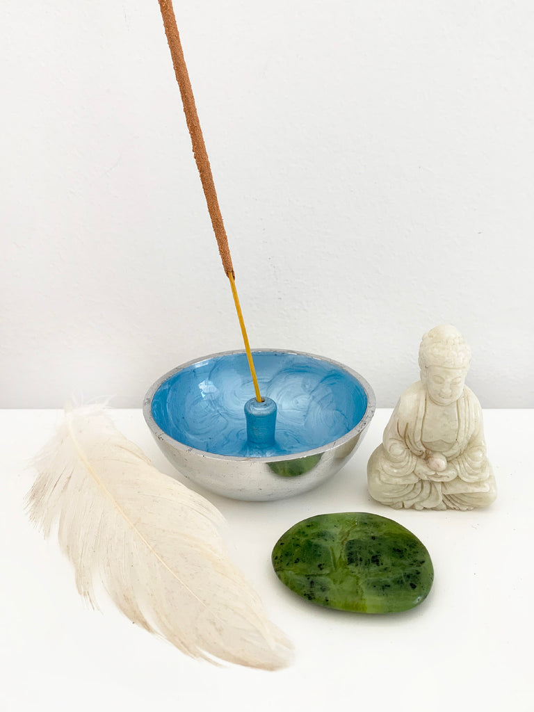 Hand Painted Incense Bowl • CORNFLOWER