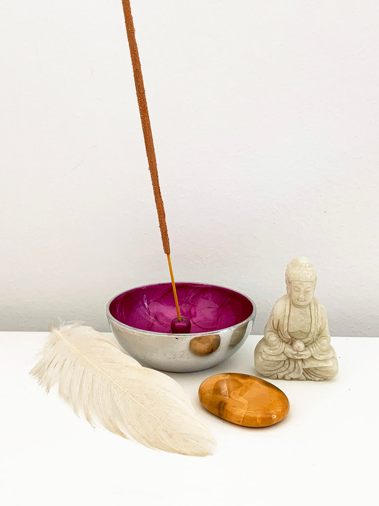 Hand Painted Incense Bowl • FUCHSIA