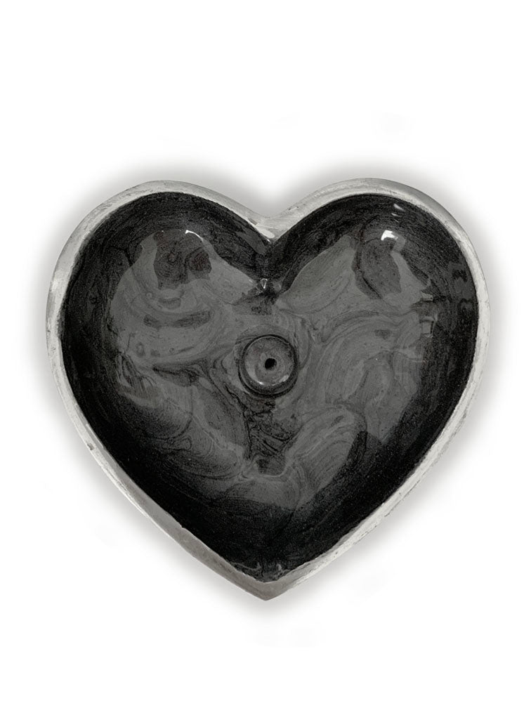 Hand Painted Heart Incense Bowl • CHARCOAL