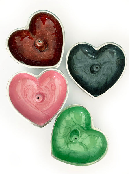 Hand Painted Heart Incense Bowl • MINT