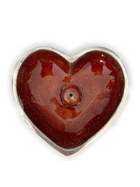 Hand Painted Heart Incense Bowl • RUST