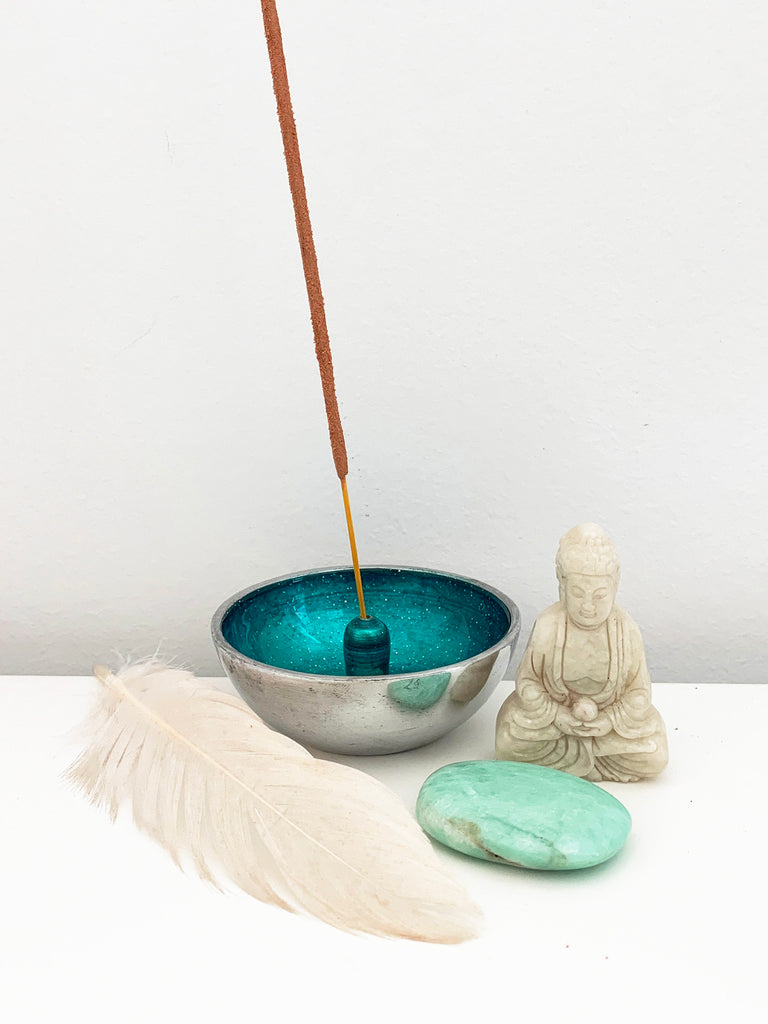 Hand Painted Incense Bowl TEAL • NEW