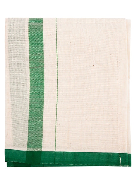 Indian Cotton Dish Cloth/Napkin (Ivory/Green Stripe) • 100x60cm