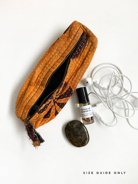 Indian Kantha Makeup Pouch (Burnt Orange) • NEW