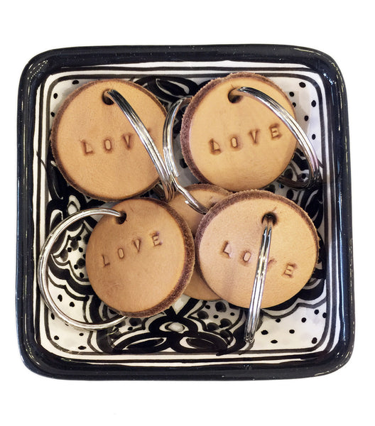 Tan Leather Postcode Keyring (LOVE) IN STOCK