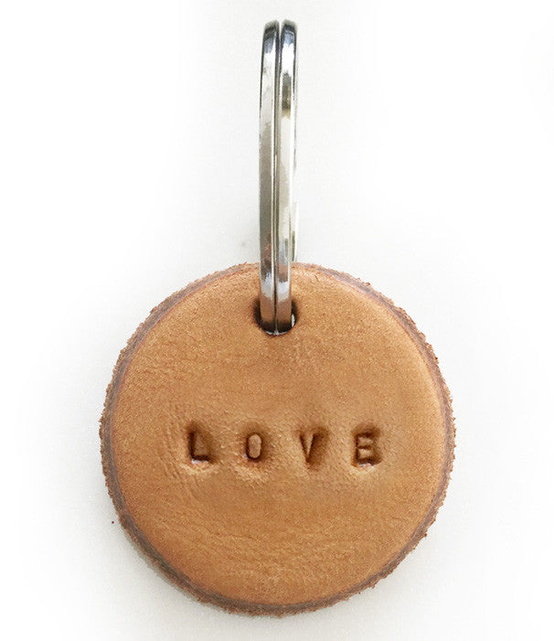 Tan Leather Postcode Keyring (LOVE)