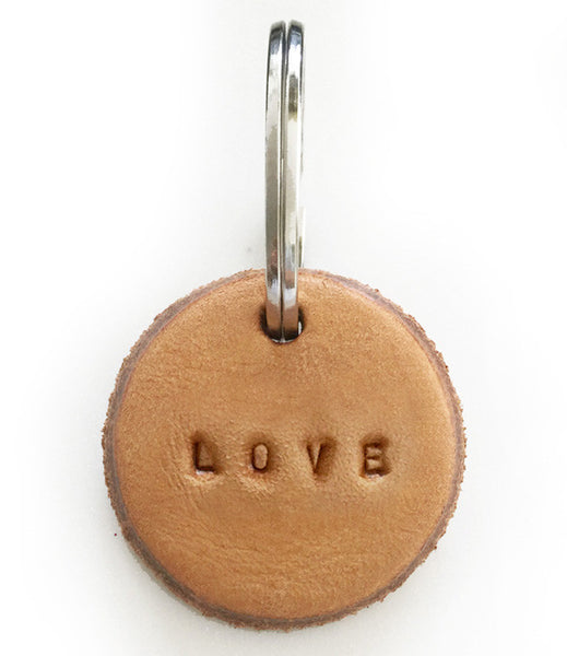 Tan Leather Postcode Key Ring (LOVE)