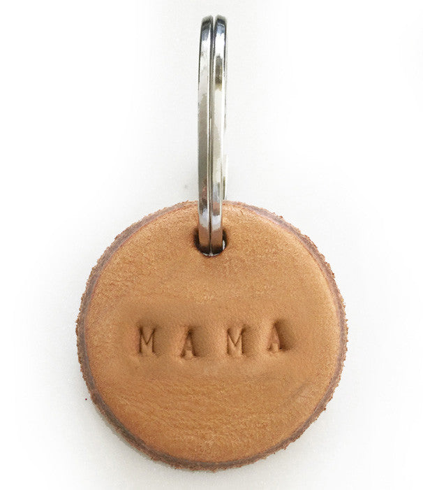 Tan Leather Postcode Keyring (MAMA)