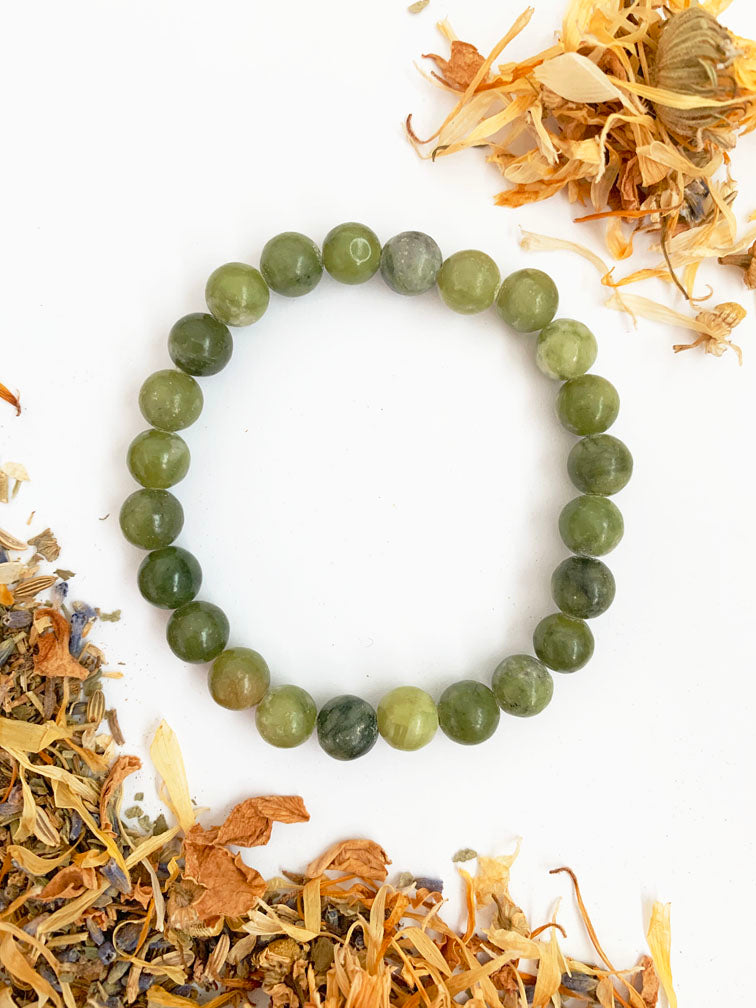 NEPHRITE JADE Healing Crystal Bracelet • BACK IN STOCK