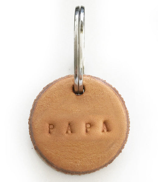 Tan Leather Postcode Keyring (PAPA)