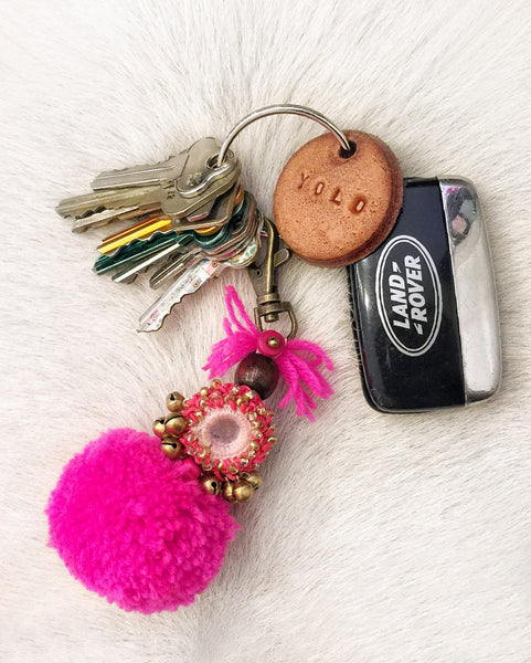 Dream Chaser Embellished Pompom Keyring (Fuchsia) BACK IN STOCK