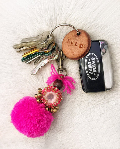 Dream Chaser Embellished Pompom Key Ring (Fuchsia)