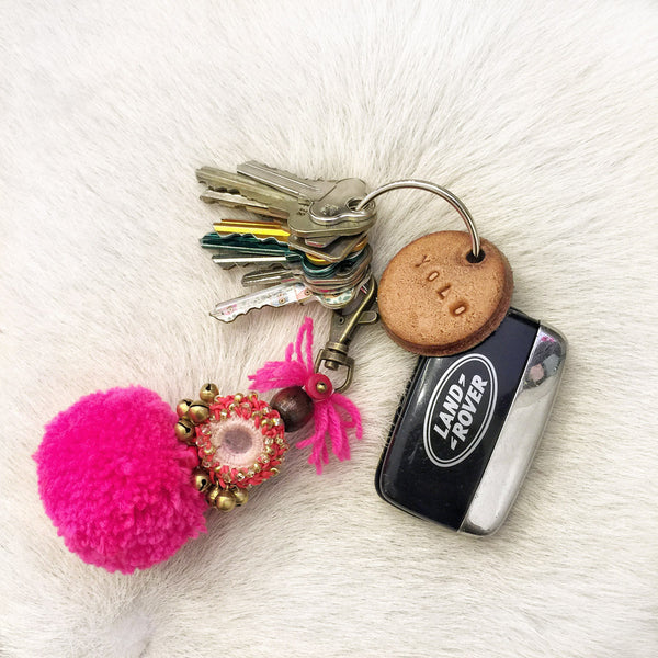 Tan Leather Postcode Keyring (BOSS) IN STOCK