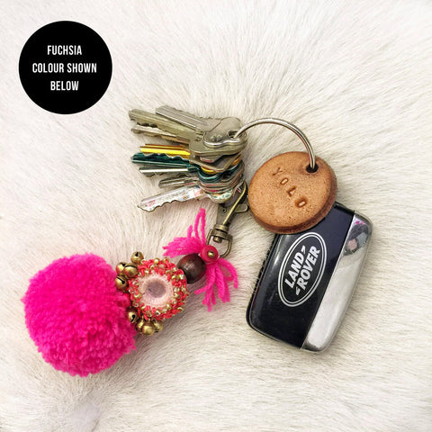 Dream Chaser Embellished Pompom Key Ring (Violet)