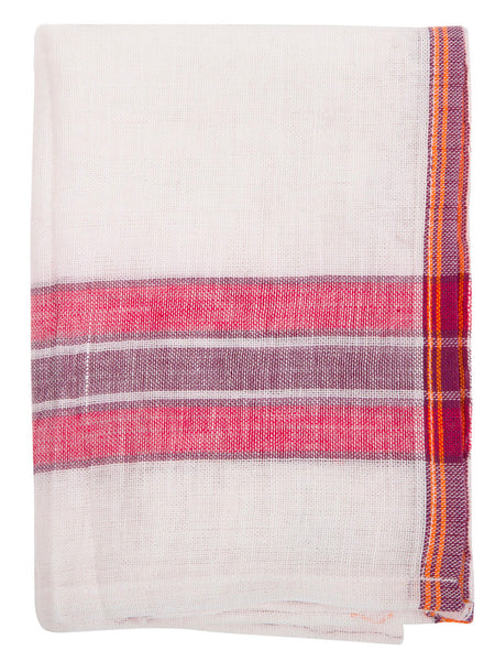 Indian Cotton Dish Cloth/Napkin (White/Red-Violet) • 80x45cm