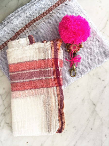 Indian Washed Cotton Dish Cloth/Napkin (White/Red-Violet) 80x45cm IN STOCK
