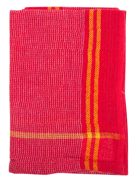 Indian Cotton Dish Cloth/Napkin (Red/BoldYellow Stripe) • 80x40cm