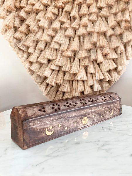 Indian Rosewood Incense Holder + Storage Box • NEW