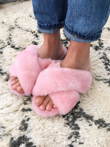 Shearling Mayberry Slides (Baby Pink)