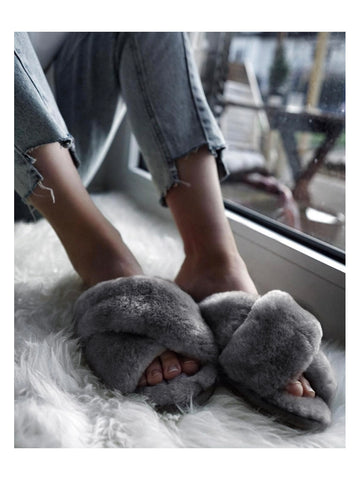 Shearling Mayberry Slides (Charcoal)