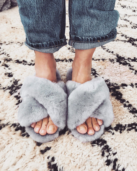 Shearling Mayberry Slides (Dove Grey) PARTIALLY STOCKED