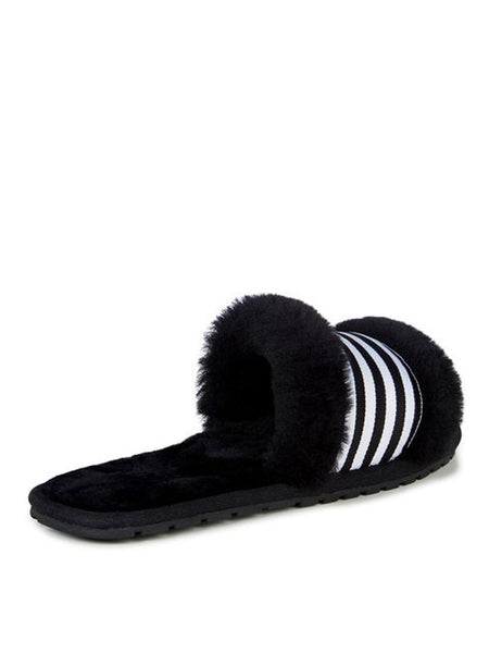 Shearling Wrenlette Slides (Black)
