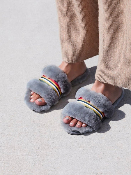 Shearling Wrenlette Slides (Charcoal)