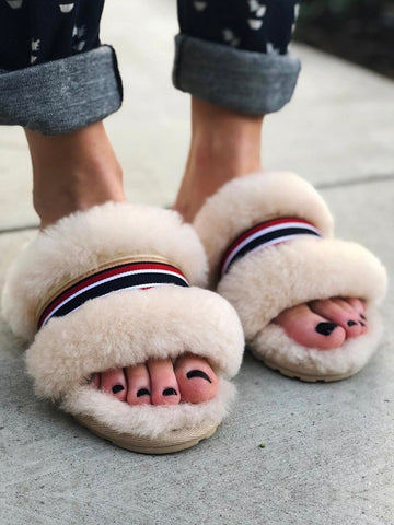 Shearling Wrenlette Slides (Natural)