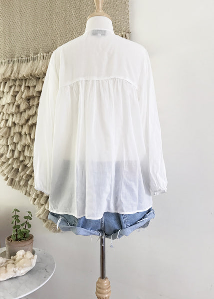 "Chowchilla Vintage Gypset Blouse ""Cotton Gauze White"" PARTIALLY STOCKED"
