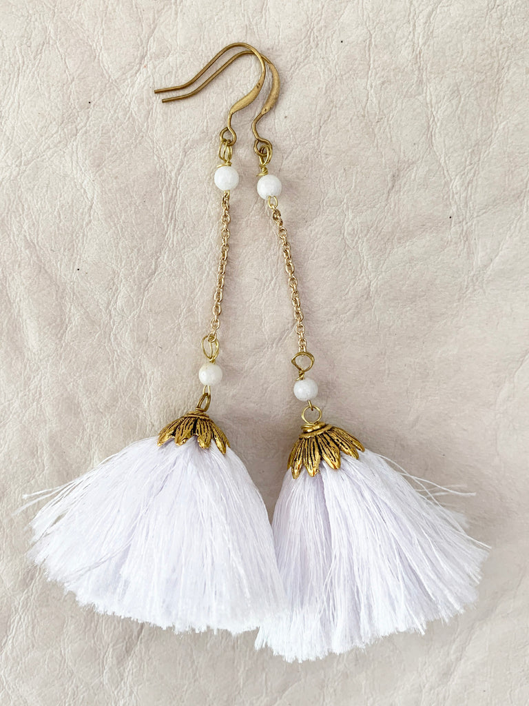 Babylon Tassel Earrings (White)